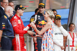 Second place Sebastian Vettel, Ferrari, receives his trophy from Princess Charlene of Monaco