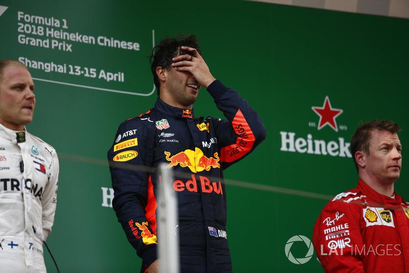 Yarış galibi Daniel Ricciardo, Red Bull Racing, 2. Valtteri Bottas, Mercedes-AMG F1, 3. Kimi Raikkonen, Ferrari