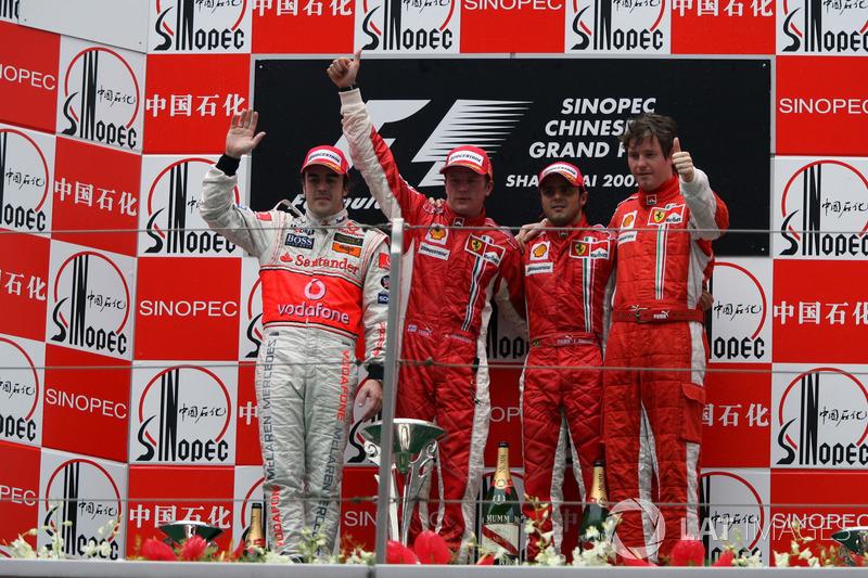 2007: 1. Kimi Raikkonen, 2. Fernando Alonso, 3. Felipe Massa