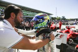 Felipe Massa, Williams, celebrates a points finish in his final home Grand Prix, in Parc Ferme