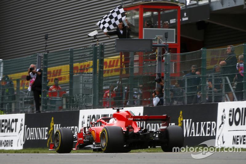 Il vincitore della gara Sebastian Vettel, Ferrari SF71H