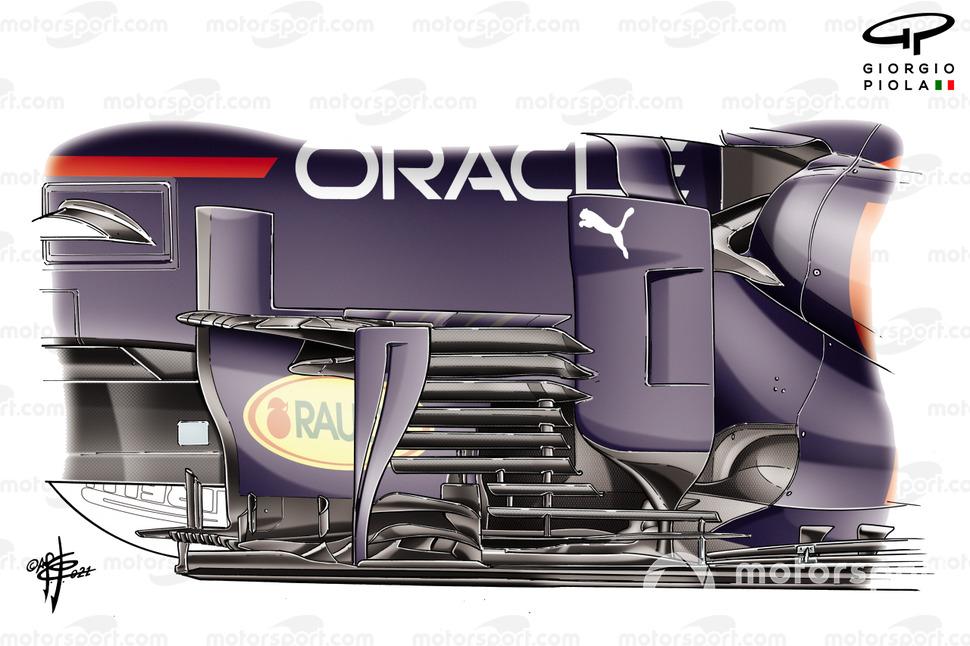 Detalle del nuevo bargeboard del Red Bull Racing RB16B.