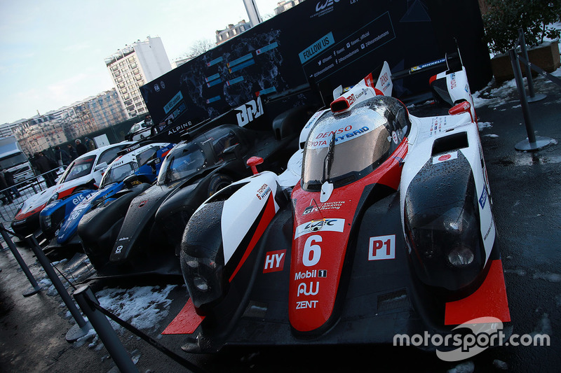 WEC cars on display in the snow in Paris