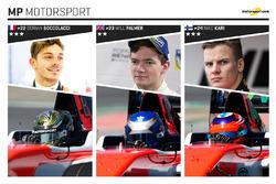 MP Motorsport et ses pilotes : Dorian Boccolacci, Will Palmer et Niko Kari