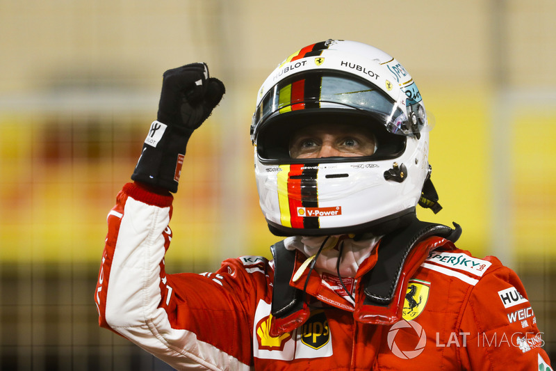 Sebastian Vettel, Ferrari, celebrates pole position
