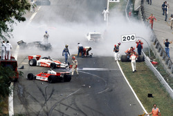 The immediate aftermath of the multi-car accident at the start of the race