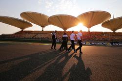 Track walk for Mike Conway, Kamui Kobayashi, Jose Maria Lopez, Toyota Gazoo Racing