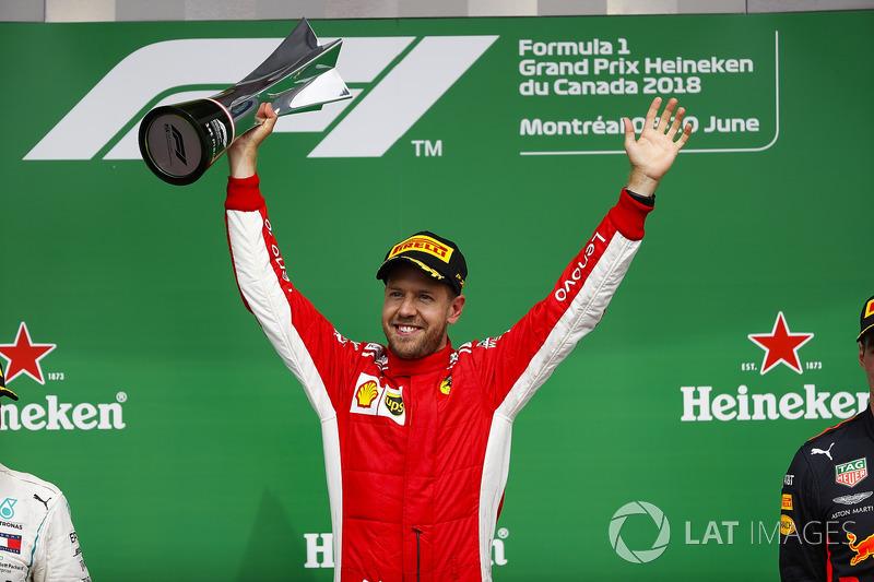 Sebastian Vettel, Ferrari, 1st position, celebrates with his trophy on the podium