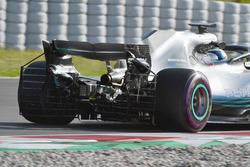 Valtteri Bottas, Mercedes-AMG F1 W09, con sensori aerodinamici