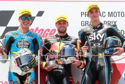 Podium: race winner Brad Binder, Red Bull KTM Ajo Moto2, second place Joan Mir, Marc VDS Moto2, third place Luca Marini, Sky Racing Team VR46 Moto2