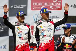 Sur le podium : Les deuxièmes, Ott Tänak, Martin Järveoja, Toyota Gazoo Racing WRT Toyota Yaris WRC