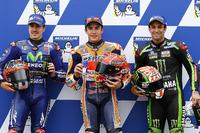 Pole sitter Marc Marquez, Repsol Honda Team, second place Maverick Viñales, Yamaha Factory Racing, third place Johann Zarco, Monster Yamaha Tech 3