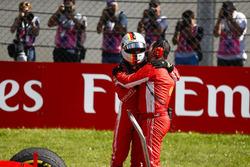 Sebastian Vettel, Ferrari, 3rd position, with his engineer in Parc Ferme