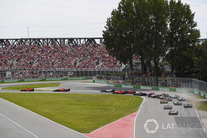 Start GP Kanada. Sebastian Vettel memimpin