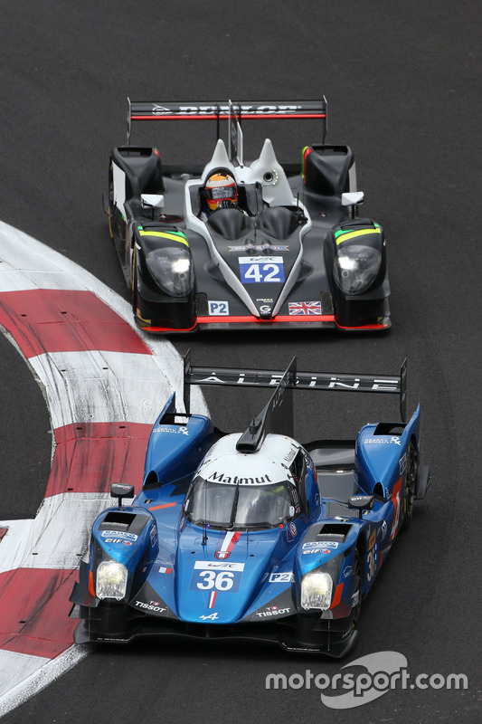 #36 Signatech Alpine A460: Gustavo Menezes, Nicolas Lapierre, Stéphane Richelmi; #42 Strakka Racing