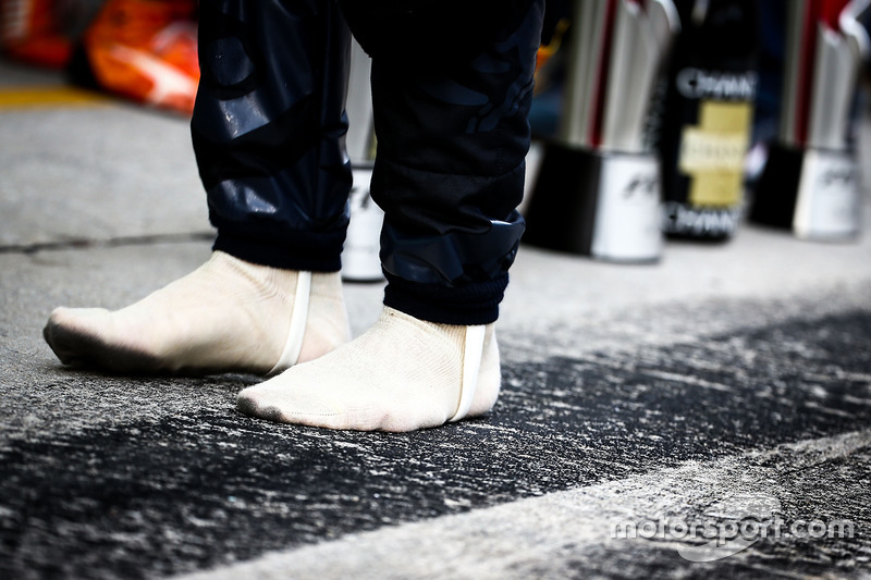Race winner Daniel Ricciardo, Red Bull Racing minus his racing boots