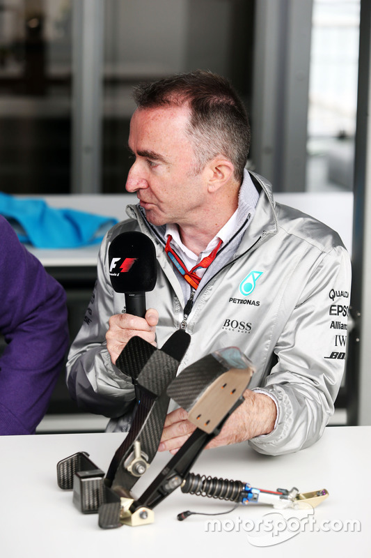 Paddy Lowe, Mercedes AMG F1 Executive Director, with F1 pedals