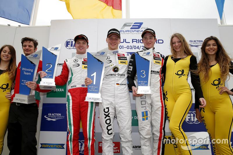 Podium: ganador, Maximilian Günther, Prema Powerteam Dallara F312 – Mercedes-Benz; segundo, Nick Cassidy, Prema Powerteam Dallara F312 – Mercedes-Benz; tercero, Joel Eriksson (SWE) Motopark Dallara F312 – Volkswagen