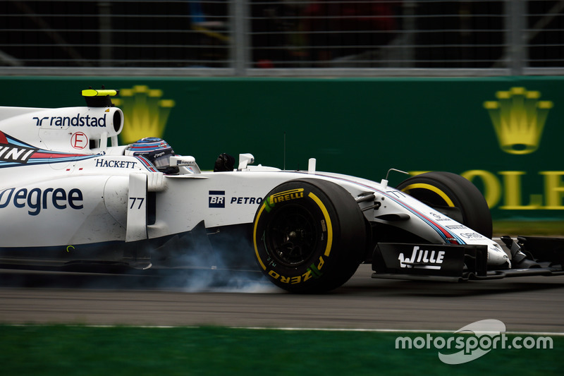 Valtteri Bottas, Williams FW38 locks up under braking