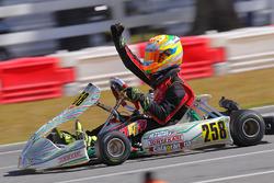 Mathias Ramirez celebrates his Rotax Junior win