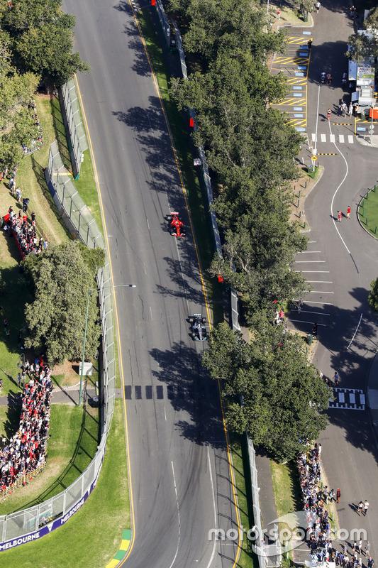 Lewis Hamilton, Mercedes AMG F1 W08, leads Sebastian Vettel, Ferrari SF70H