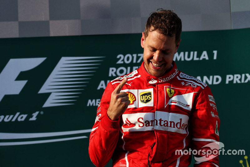 Podium: winner Sebastian Vettel, Ferrari
