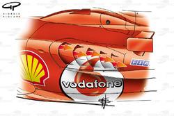 Ferrari F2005 additional sidepod cooling gills
