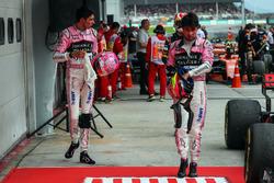 Esteban Ocon, Sahara Force India and Sergio Perez, Sahara Force India in parc ferme