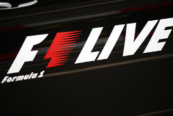 An F1 Live logo,  at the London Formula 1 street demonstration parade