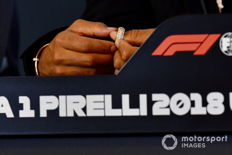 Hands of Lewis Hamilton, Mercedes AMG F1 in Press Conference