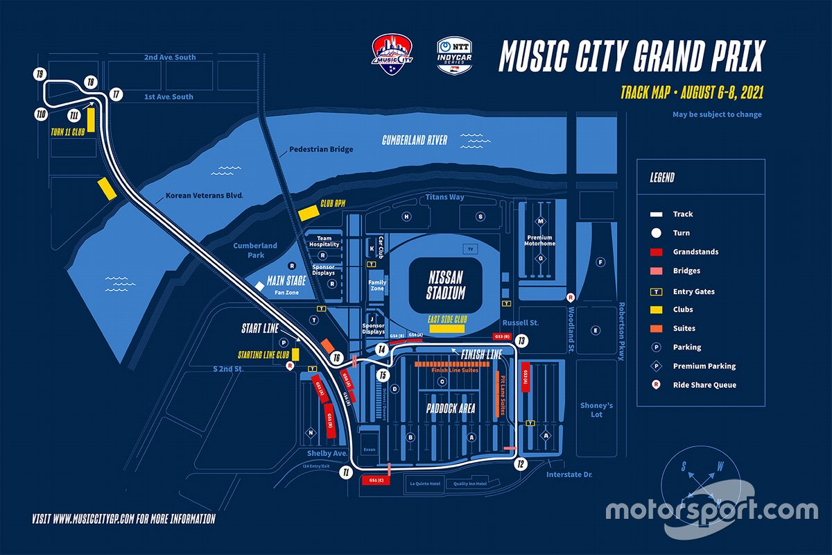 Layout sirkuit jalanan Music City Grand Prix