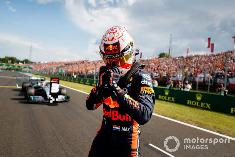 Max Verstappen, Red Bull Racing, fête sa pole position