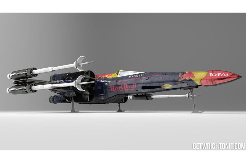X-Wing de Star Wars avec une livrée Red Bull