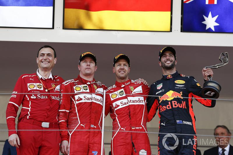 Monaco GP - Kazanan Sebastian Vettel, 2. Kimi Raikkonen, 3. Daniel Ricciardo