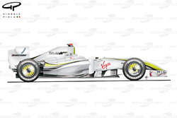Brawn BGP 001 2009 Spa side view