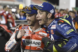 Winner Andrea Dovizioso, Ducati Team, third place Valentino Rossi, Yamaha Factory Racing