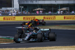 Lewis Hamilton, Mercedes AMG F1 W09, leads Max Verstappen, Red Bull Racing RB14