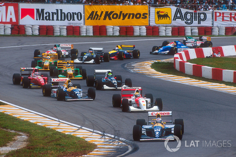 Départ : Alain Prost, Williams FW15C, devant Ayrton Senna, McLaren MP4/8