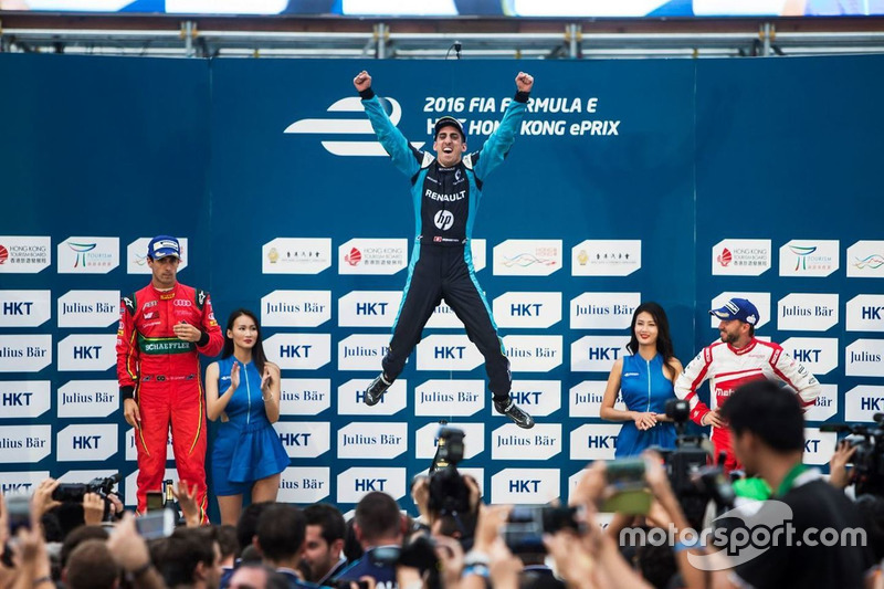 Podium: 1. Sebastien Buemi, Renault e.dams; 2. Lucas di Grassi, ABT Schaeffler Audi Sport; 3. Nick Heidfeld, Mahindra Racing