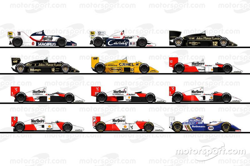 Все автомобили Айртона Сенны в Ф1: Toleman, Lotus, McLaren и Williams