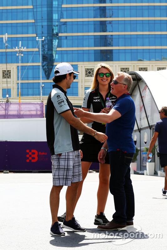 Sergio Pérez, Sahara Force India F1 con Victoria Helyar, Sahara Force India F1 Team yJohnny Herbert, Sky Sports F1
