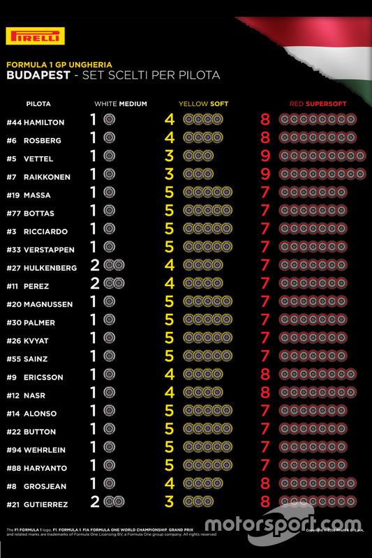 Set di pneumatici scelti per pilota
