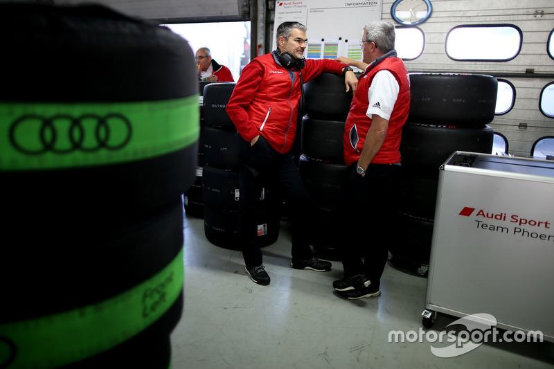 Dieter Gass, Head of DTM Audi Sport and Ernst Moser, Audi Team Phoenix
