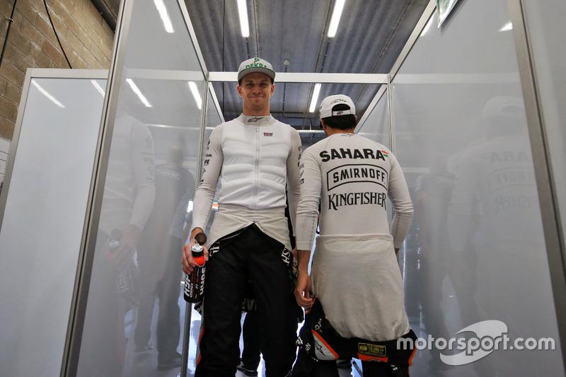 Nico Hulkenberg, Sahara Force India F1 and team mate Sergio Perez, Sahara Force India F1