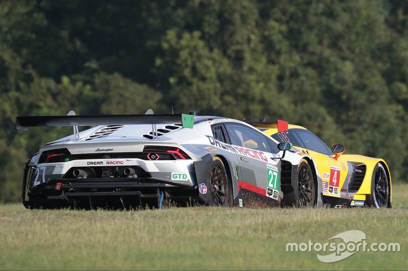 #27 Dream Racing Lamborghini Huracan GT3: Lawrence DeGeorge, Cedric Sbirrazzuoli, #4 Corvette Racing Chevrolet Corvette C7.R: Oliver Gavin, Tommy Milner