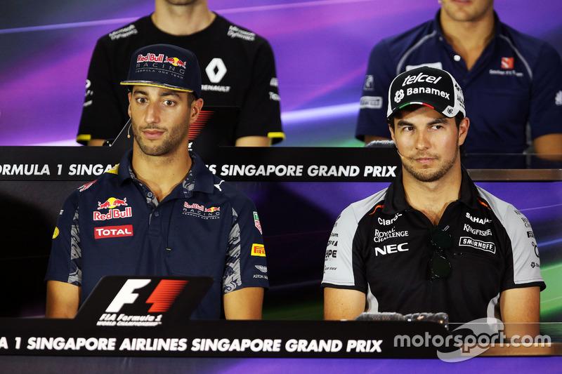 (L to R): Daniel Ricciardo, Red Bull Racing with Sergio Perez, Sahara Force India F1 in the FIA Press Conference