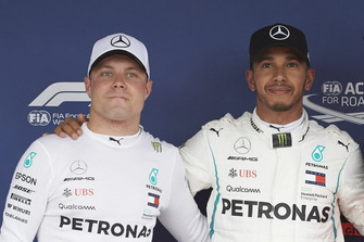 Front row starters Valtteri Bottas, Mercedes AMG F1, and pole man Lewis Hamilton, Mercedes AMG F1