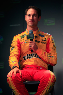 Joey Logano, driver of the #22 Shell Pennzoil Ford talks to the media during media day