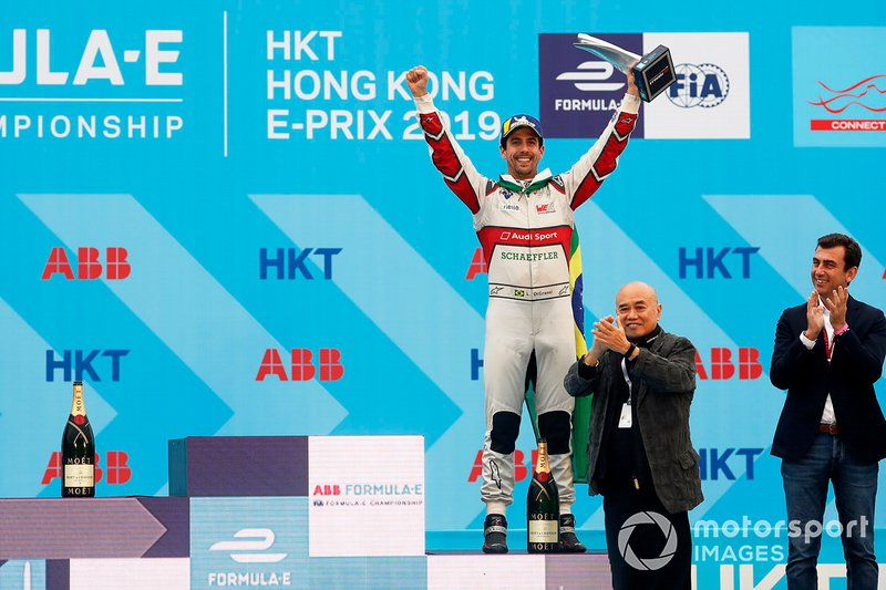 Lucas Di Grassi, Audi Sport ABT Schaeffler, Audi e-tron FE05, celebrates on the podium