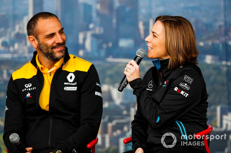 Cyril Abiteboul, Managing Director, Renault F1 Team, Claire Williams, Deputy Team Principal, Williams Racing